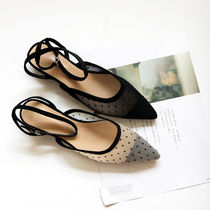 Dots Faux Fur Street Style Elegant Style Mules Shoes