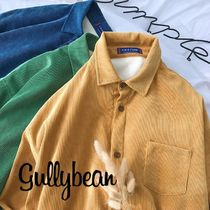 Corduroy Street Style Long Sleeves Plain Shirts