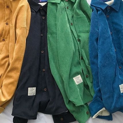 Shirts Corduroy Street Style Long Sleeves Plain Shirts 5