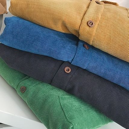 Shirts Corduroy Street Style Long Sleeves Plain Shirts 8
