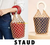 STAUD Casual Style Street Style Plain Leather Purses Straw Bags