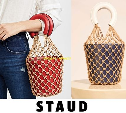 Street Style Plain Leather Purses Straw Bags