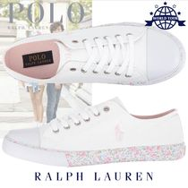 Ralph Lauren Flower Patterns Round Toe Rubber Sole Lace-up Casual Style