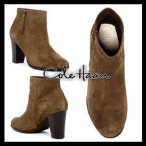 Cole Haan Round Toe Casual Style Suede Plain Block Heels