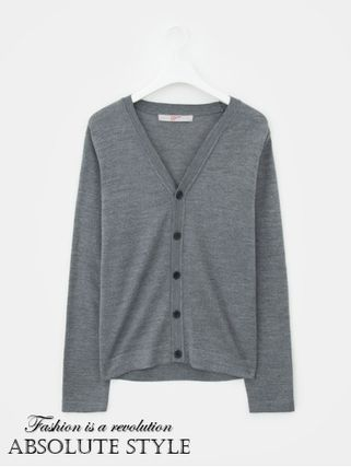 Button-down Street Style V-Neck Long Sleeves Plain Cardigans