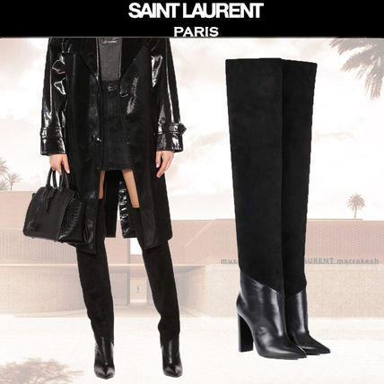 Plain Leather Block Heels Elegant Style Over-the-Knee Boots
