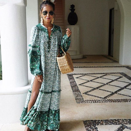 Flower Patterns Long Sleeves Long Dresses