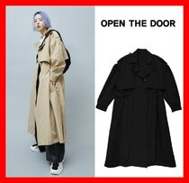 OPEN THE DOOR Casual Style Street Style Plain Long Trench Coats