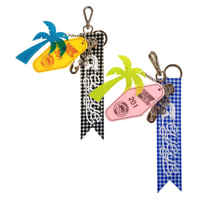Gingham Tropical Patterns Chain Keychains & Bag Charms