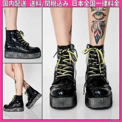 Star Platform Round Toe Lace-up Casual Style Plain