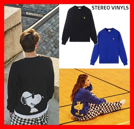 Crew Neck Casual Style Unisex Street Style Collaboration