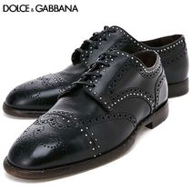 Dolce & Gabbana Straight Tip Plain Leather Oxfords