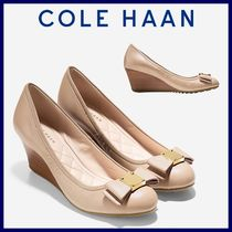 Cole Haan Plain Toe Plain Leather Wedge Pumps & Mules
