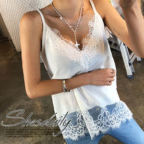 Casual Style Plain Lace Tanks & Camisoles