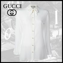 GUCCI Long Sleeves Plain Medium Elegant Style Shirts & Blouses