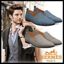 HERMES Moccasin Plain Leather Loafers & Slip-ons