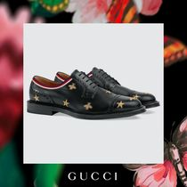 GUCCI Star Straight Tip Leather Oxfords