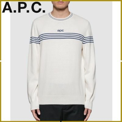Crew Neck Pullovers Stripes Long Sleeves Plain Cotton