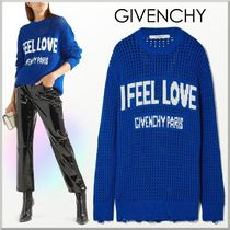 GIVENCHY Crew Neck Casual Style Long Sleeves Cotton Medium Oversized