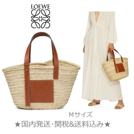 Casual Style Blended Fabrics A4 Plain Leather Straw Bags