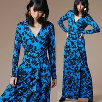 DIANE von FURSTENBERG Wrap Dresses Flower Patterns Silk V-Neck Long Sleeves Long