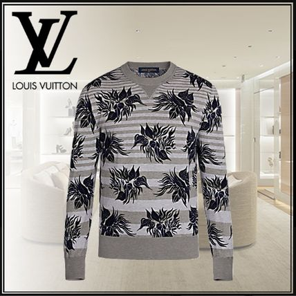 Crew Neck Flower Patterns Street Style Long Sleeves Cotton