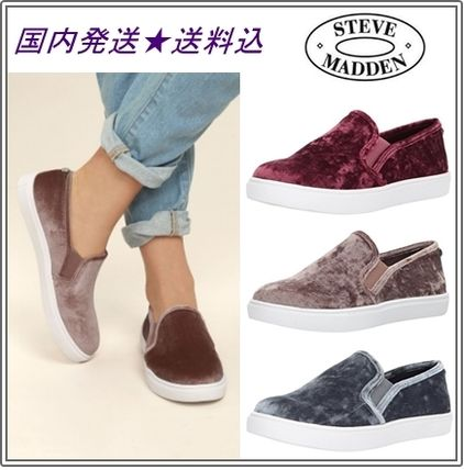 Round Toe Rubber Sole Casual Style Plain Slip-On Shoes