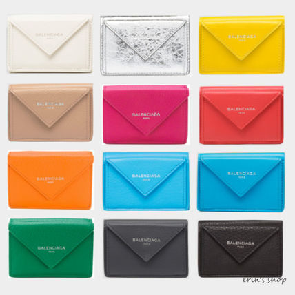 BALENCIAGA Folding Wallets Unisex Calfskin Street Style Plain Folding Wallets