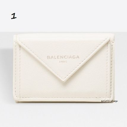 BALENCIAGA Folding Wallets Unisex Calfskin Street Style Plain Folding Wallets 2