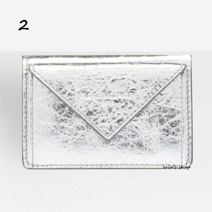 BALENCIAGA Folding Wallets Unisex Calfskin Street Style Plain Folding Wallets 3