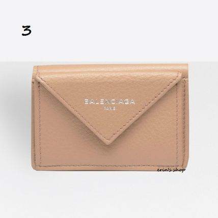 BALENCIAGA Folding Wallets Unisex Calfskin Street Style Plain Folding Wallets 4