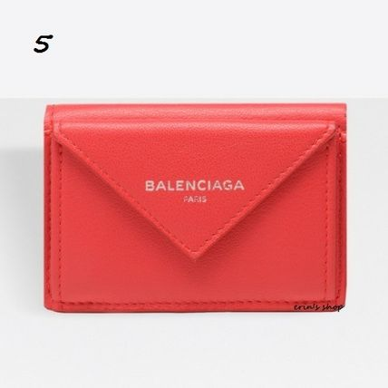 BALENCIAGA Folding Wallets Unisex Calfskin Street Style Plain Folding Wallets 6