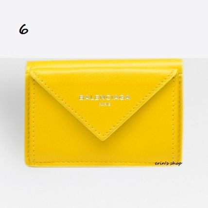 BALENCIAGA Folding Wallets Unisex Calfskin Street Style Plain Folding Wallets 7