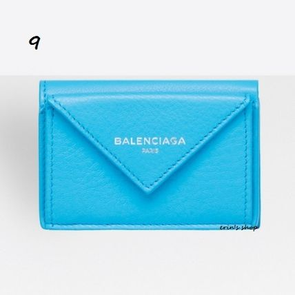 BALENCIAGA Folding Wallets Unisex Calfskin Street Style Plain Folding Wallets 10