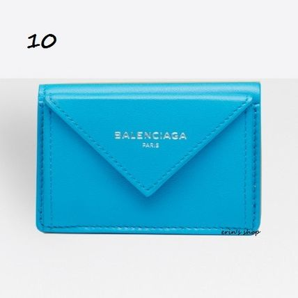 BALENCIAGA Folding Wallets Unisex Calfskin Street Style Plain Folding Wallets 11