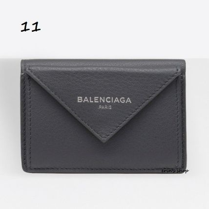 BALENCIAGA Folding Wallets Unisex Calfskin Street Style Plain Folding Wallets 12