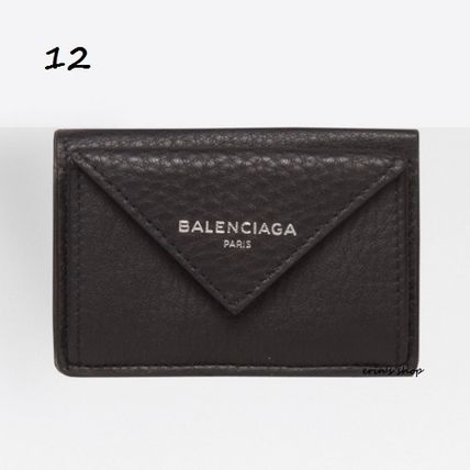 BALENCIAGA Folding Wallets Unisex Calfskin Street Style Plain Folding Wallets 13