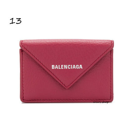 BALENCIAGA Folding Wallets Unisex Calfskin Street Style Plain Folding Wallets 14