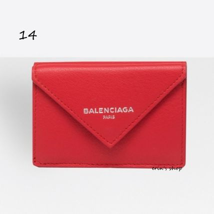 BALENCIAGA Folding Wallets Unisex Calfskin Street Style Plain Folding Wallets 15