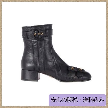 Square Toe Plain Leather Block Heels Boots Boots