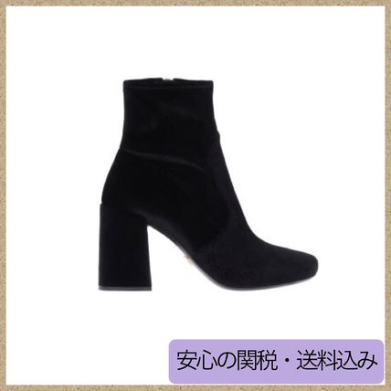 Round Toe Plain Block Heels Ankle & Booties Boots
