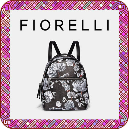 Flower Patterns Faux Fur Plain Elegant Style Backpacks