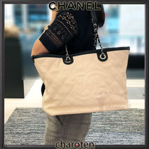 CHANEL ICON Calfskin A4 2WAY Bi-color Chain Plain Elegant Style Totes