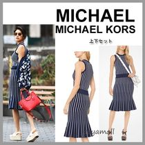 Michael Kors Crew Neck Stripes Casual Style Sleeveless Medium Dresses