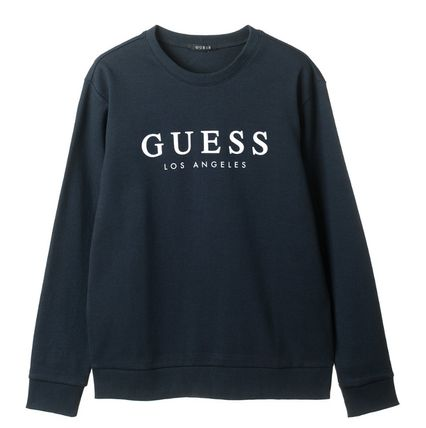 Guess Sweatshirts Crew Neck Unisex Street Style Cotton Sweatshirts 4