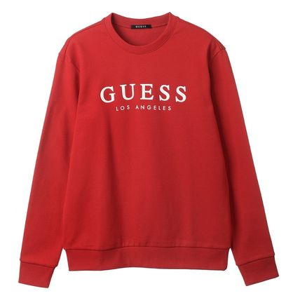 Guess Sweatshirts Crew Neck Unisex Street Style Cotton Sweatshirts 5