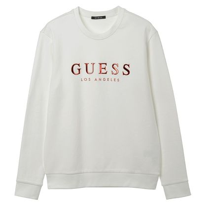 Guess Sweatshirts Crew Neck Unisex Street Style Cotton Sweatshirts 6