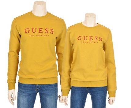 Guess Sweatshirts Crew Neck Unisex Street Style Cotton Sweatshirts 10