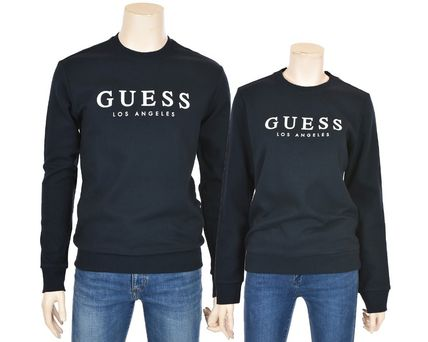 Guess Sweatshirts Crew Neck Unisex Street Style Cotton Sweatshirts 15