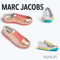 MARC JACOBS Stripes Square Toe Casual Style Street Style Plain Leather